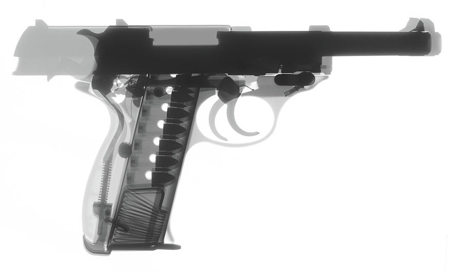 Antique Firearms Photograph - Walther P38 X-ray Photograph by Ray Gunz