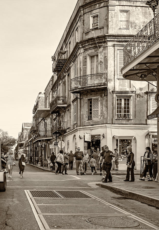Wandering In The French Quarter Sepia Photograph