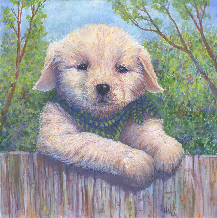 Dog Painting - Wanna Play? by June Hunt