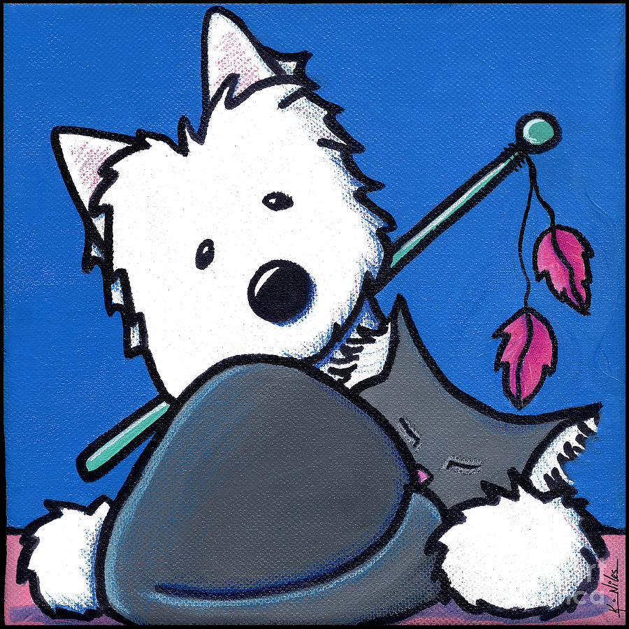 Westie Painting - Wanna Play? by Kim Niles