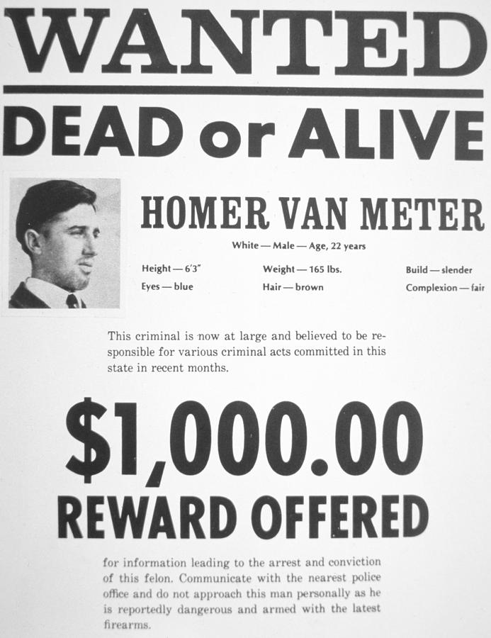 Wanted Poster For Homer Van Meter Painting by American School – Wanted Criminal Poster