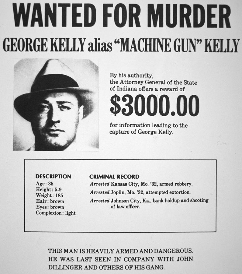 Wanted Poster For Machine Gun Kelly Painting by American School – Criminal Wanted Poster