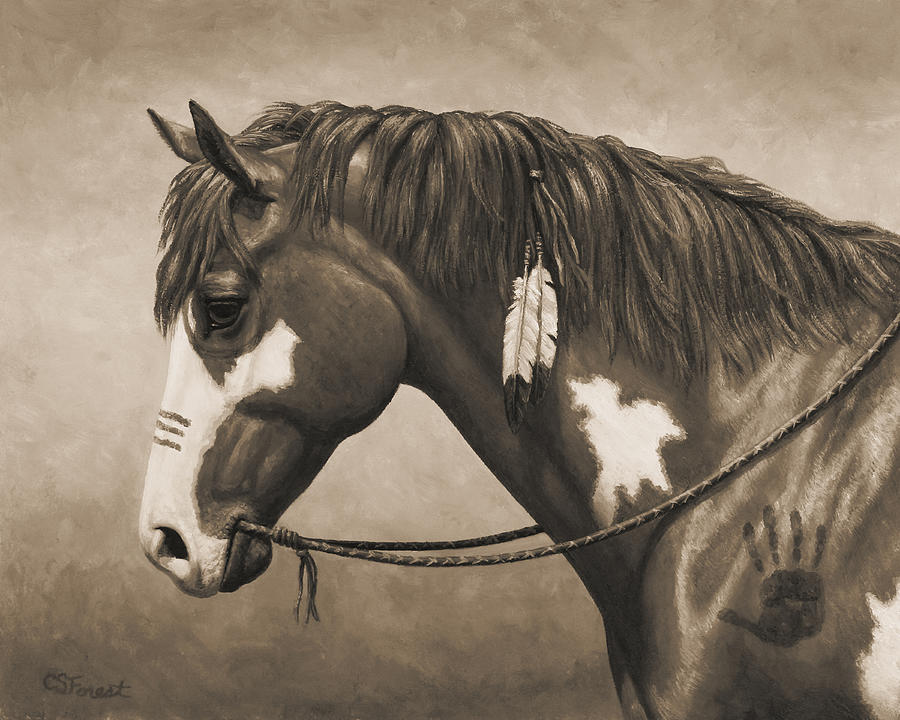 Horse Painting - War Horse Aged Photo Fx by Crista Forest