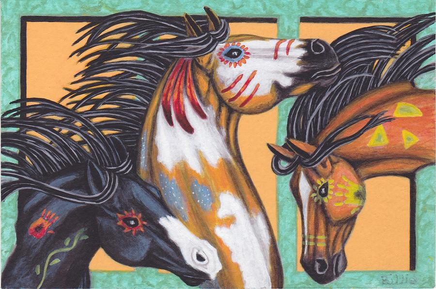 War Horse Family Painting by Billie Bowles