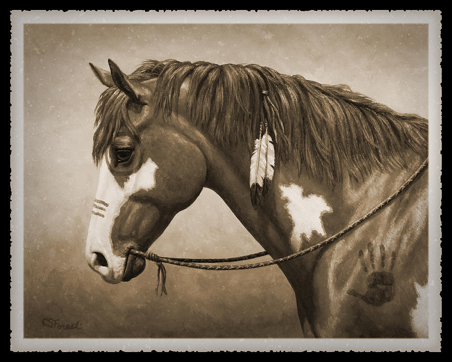Horse Painting - War Horse Old Photo Fx by Crista Forest
