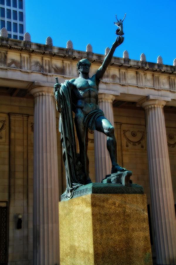War Memorial Building Photograph - War Memorial Statue Youth In Nashville by Dan Sproul