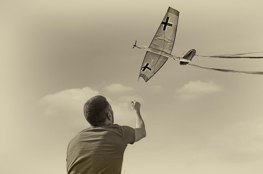 Conceptual Photograph - War Plane Play by Steven Michael