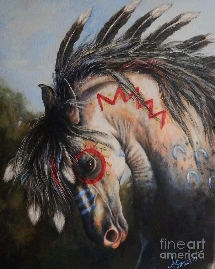 War Pony Painting - War Pony #3 Chieftan by Amanda Hukill
