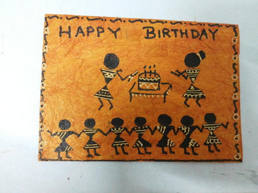 Warli Is An Ancient Tradition Of Painting. Trademark Of Warli Is The Use Of Geometric Designs Such As Triangles Painting - Warli Birthday by Deepika B
