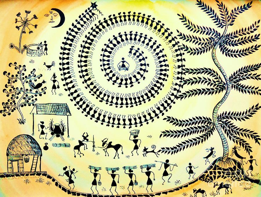 Warli Village Life Painting - Warli Day by Anjali Vaidya