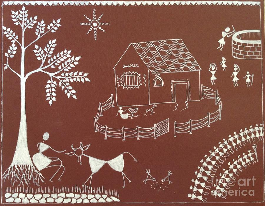 Warli painting painting by prachart warli painting warli painting by prachart altavistaventures Image collections