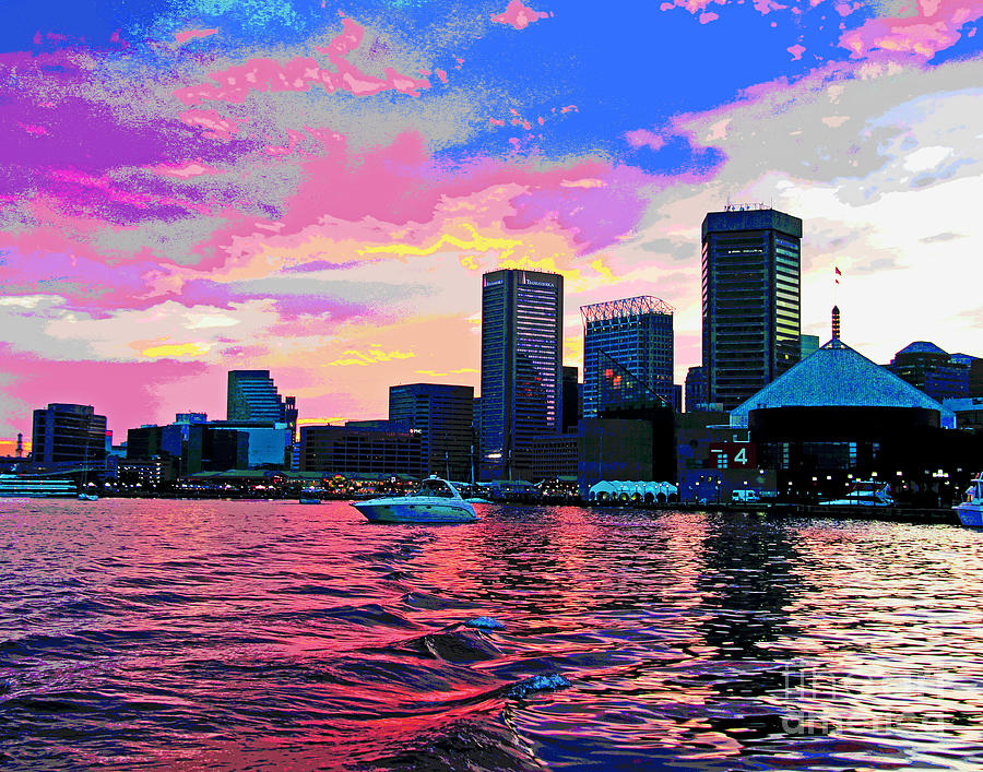 Warm Baltimore Harbor Sunset by Larry Oskin