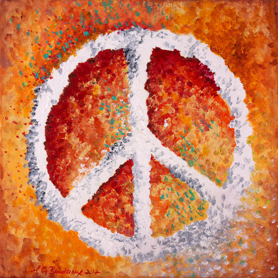 Peace Sign Painting - Warm Peace by Michelle Boudreaux