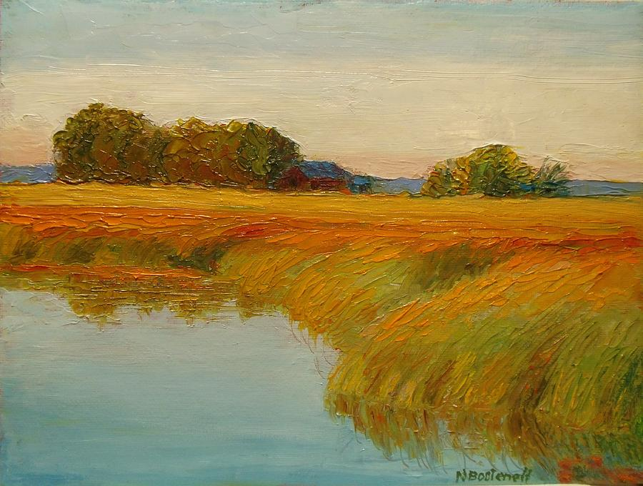 Landscape Painting - Warm Sunset On The Bog by Nicolas Bouteneff