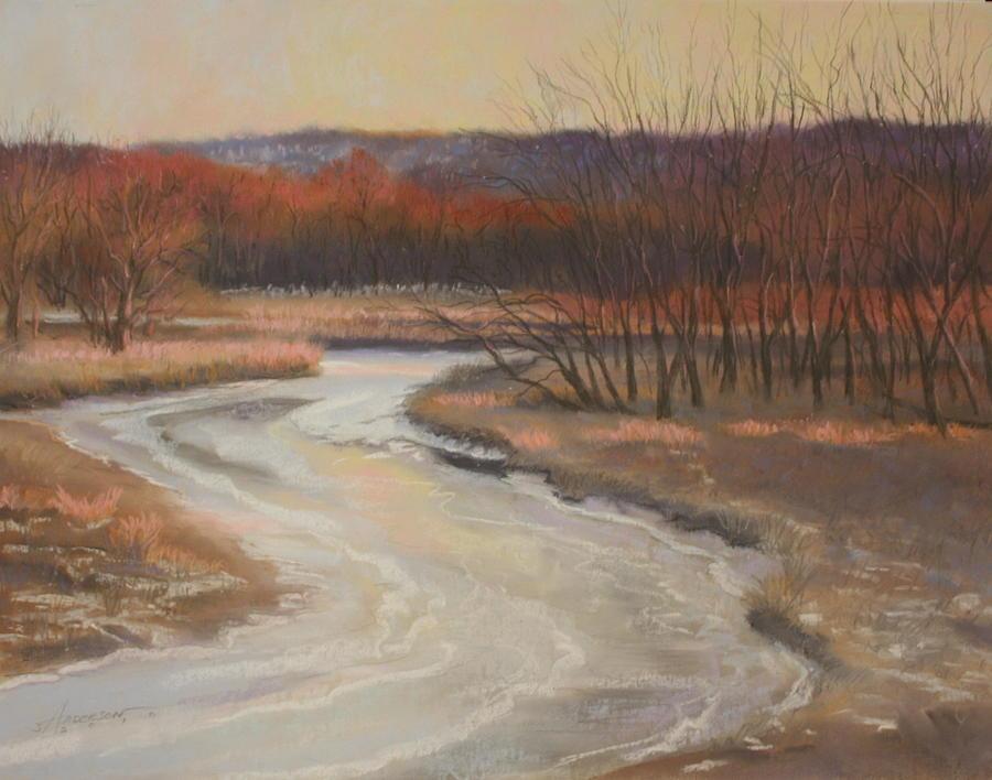 Landscape Pastel - Warm Winter at Catfish Corner by Sherri Anderson