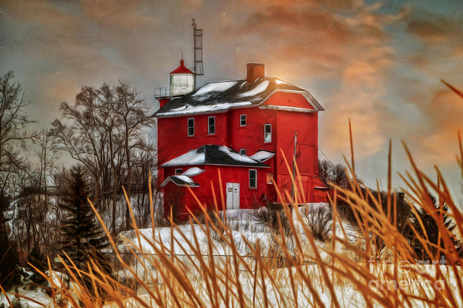 Lighthouse Photograph - Warming By The Sun by Upper Peninsula Photography