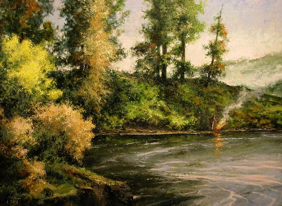 Landscape Painting - The Bottoms - Warming Up by Jim Gola