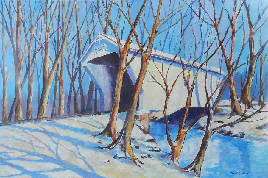 Covered Bridge Painting - Warnke Bridge Preble County by David  Maynard