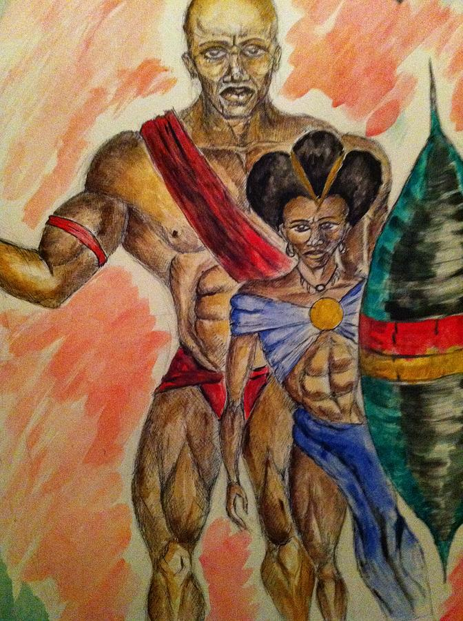 aa45bfb25b9 African Queen Drawing - Warrior King And Queen by Clyde Taylor