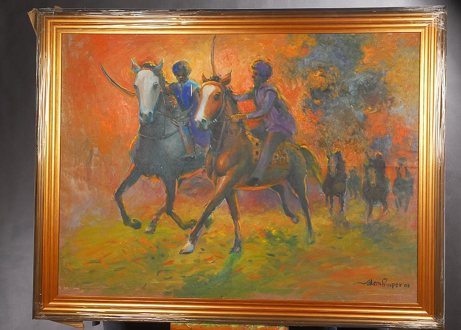 Horse Painting - Warriors In Return Framed by Prosper Akeni