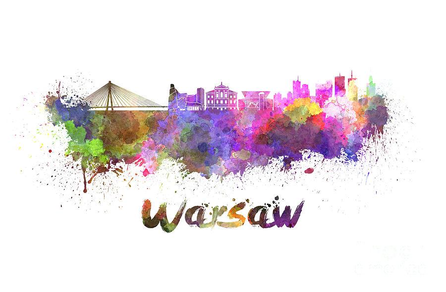 Warsaw Skyline In Watercolor Painting