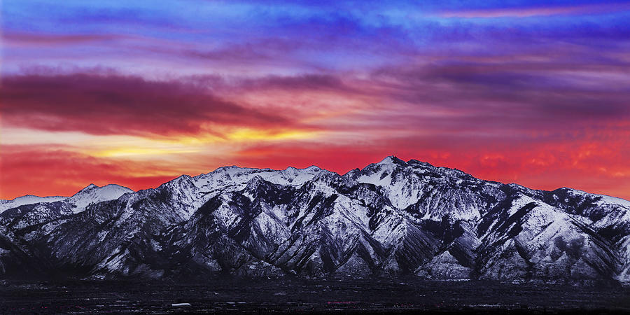 Sky Photograph - Wasatch Sunrise 2x1 by Chad Dutson