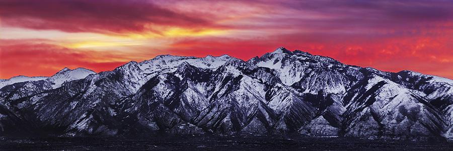 Sky Photograph - Wasatch Sunrise 3x1 by Chad Dutson
