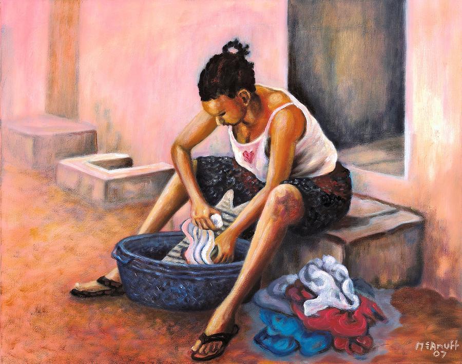 Scrubbing Board Painting - Wash Day by Ewan  McAnuff