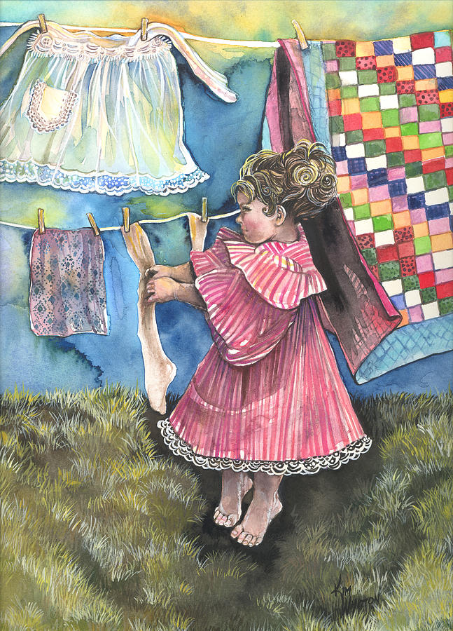 Girl Painting - Wash Day by Kim Whitton