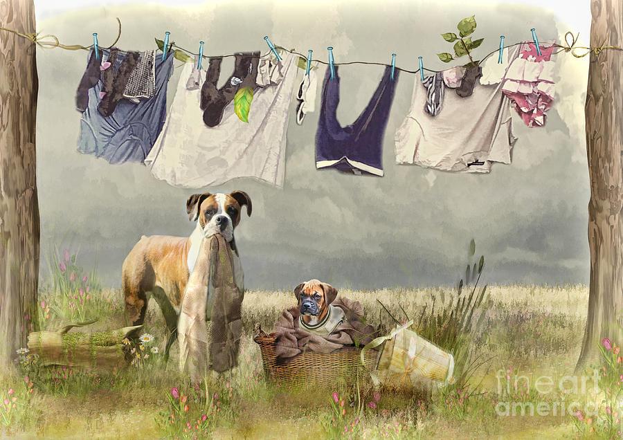 Boxer Dog Digital Art - Wash Day by Trudi Simmonds