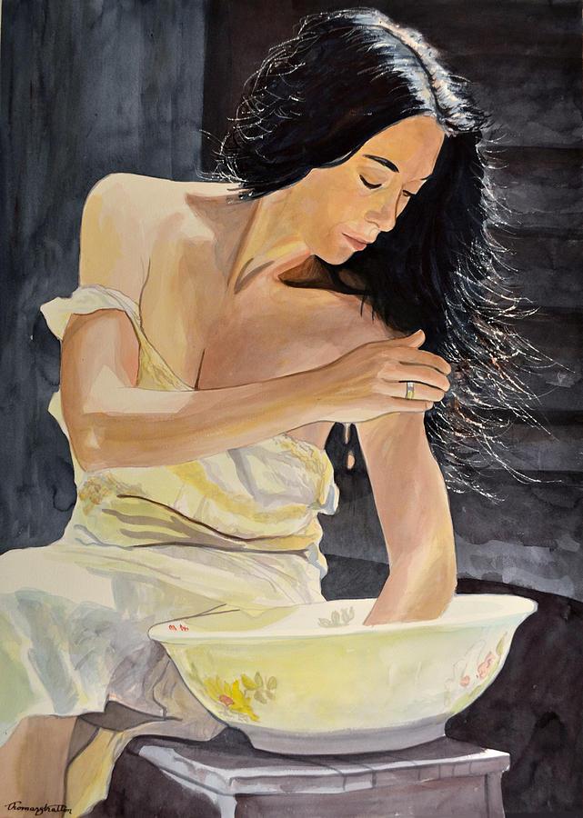 Woman Painting - Washbasin Beauty by Thomas Stratton