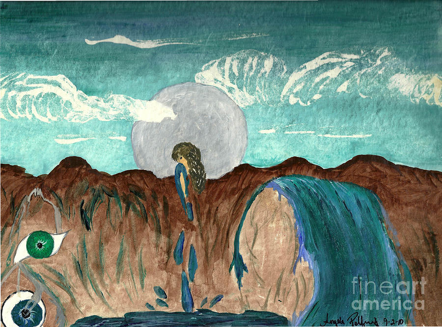 Full Moon Painting - Washed Clean by Angela Pelfrey