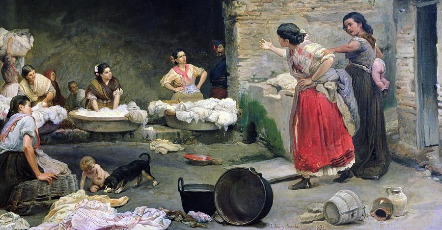 Women Painting - Washerwomen Disputing by Jose-Jimenes Aranda