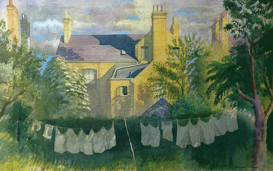 Garden Drawing - Washing At No. 25, Kingston by Osmund Caine