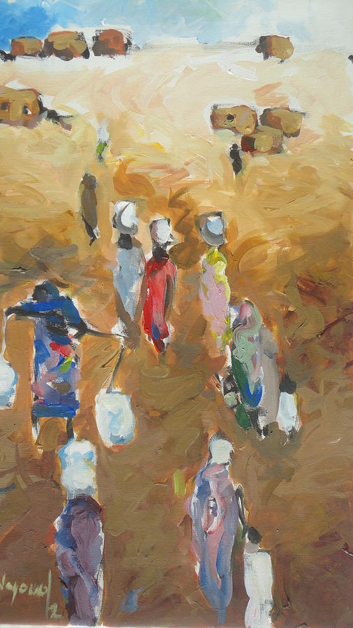 Landscape Painting - Washing Day 2 by Negoud Dahab