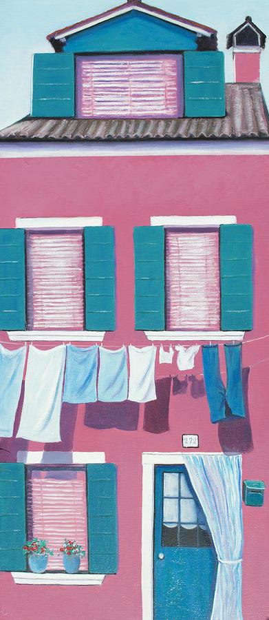Burano Painting - Washing Day Burano Venice by Jan Matson