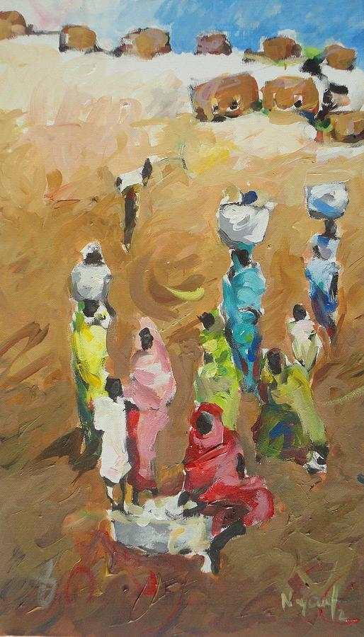 Landscape Painting - Washing Day by Negoud Dahab