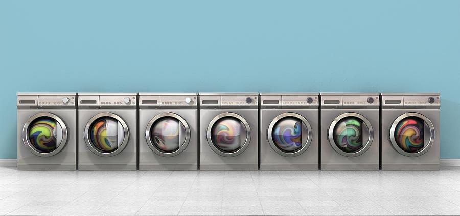Machine Digital Art - Washing Machine Full Single by Allan Swart