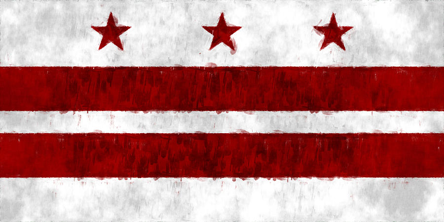 American City Flags Digital Art - Washington D.c. Flag by World Art Prints And Designs