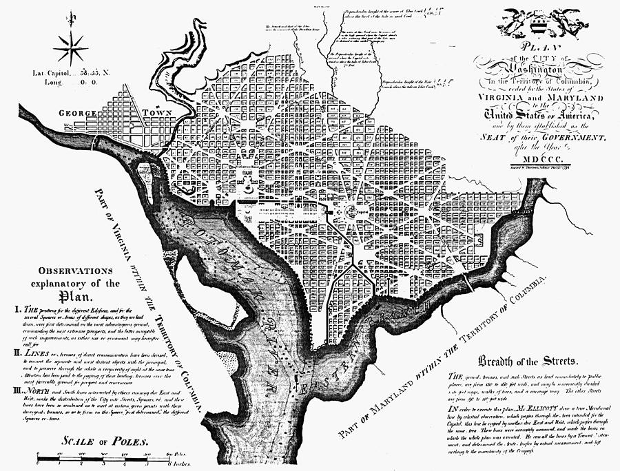 1792 Photograph - Washington, D.c. Plan, 1792 by Granger