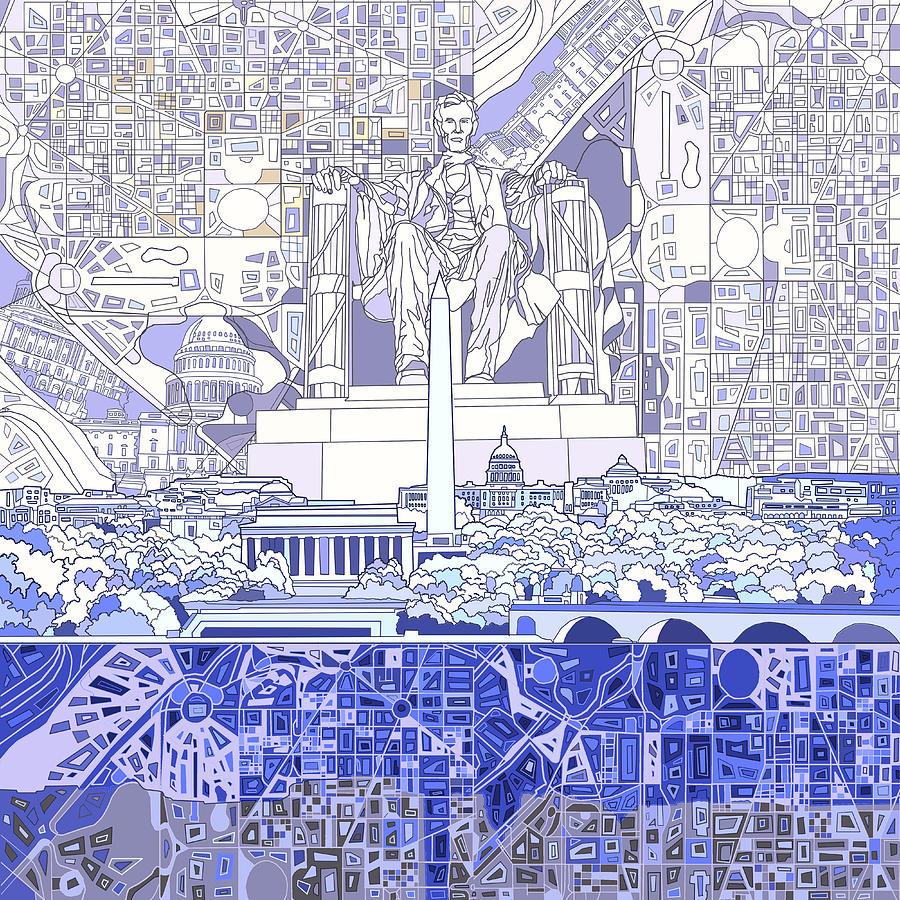 Washington Dc Skyline Abstract 3 Painting By Bekim Art