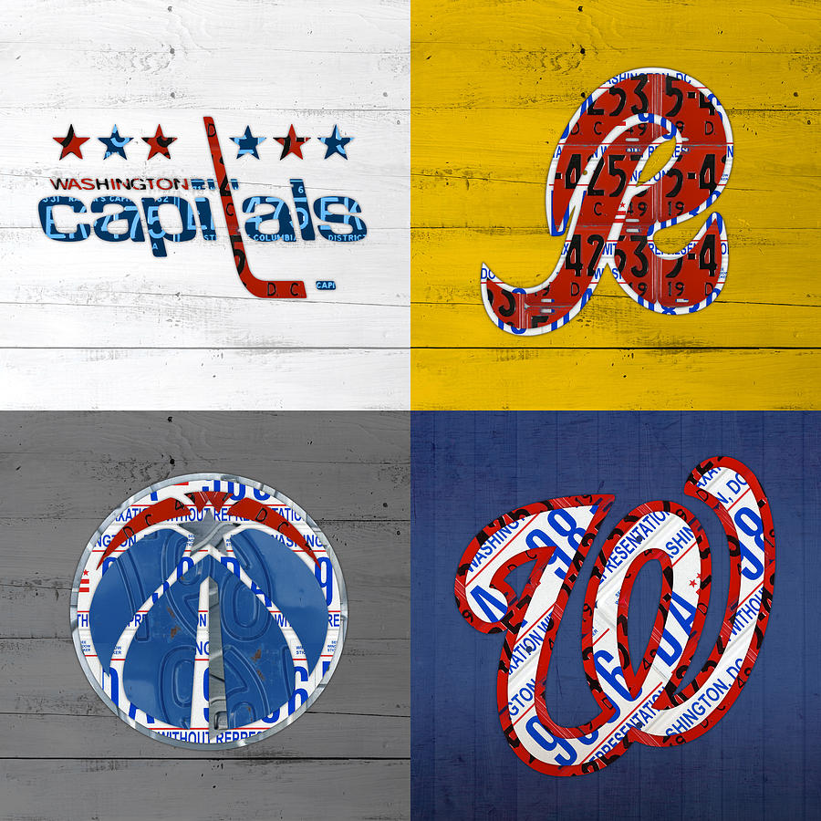 Washington Mixed Media - Washington DC Sports Fan Recycled Vintage License Plate Art Capitals Redskins Wizards Nationals by Design Turnpike