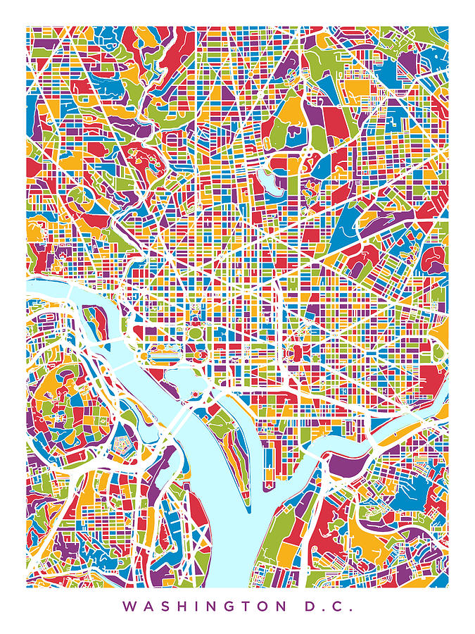 Washington Dc Street Map Digital Art by Michael Tompsett