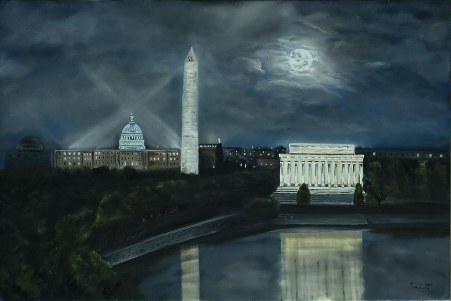 Washington Dc Painting - Washington DC Under Moonlight by Brandon Hebb