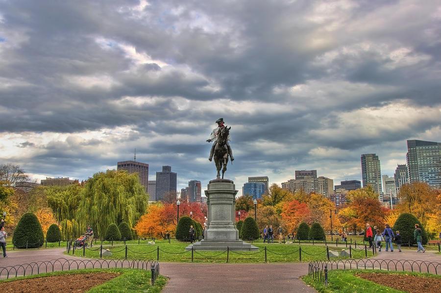 Red Sox Photograph - Washington In The Public Garden by Joann Vitali