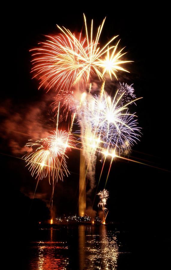 National Mall & Memorial Parks Photograph - Washington Monument Fireworks 2 by Stuart Litoff
