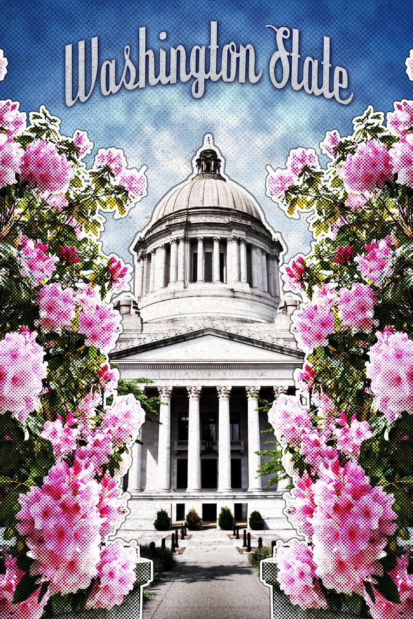 Washington Digital Art - Washington State Capitol by April Moen