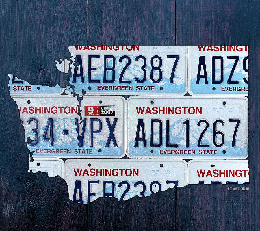 License Plate State Map.Washington State License Plate Map Art Mixed Media By Design