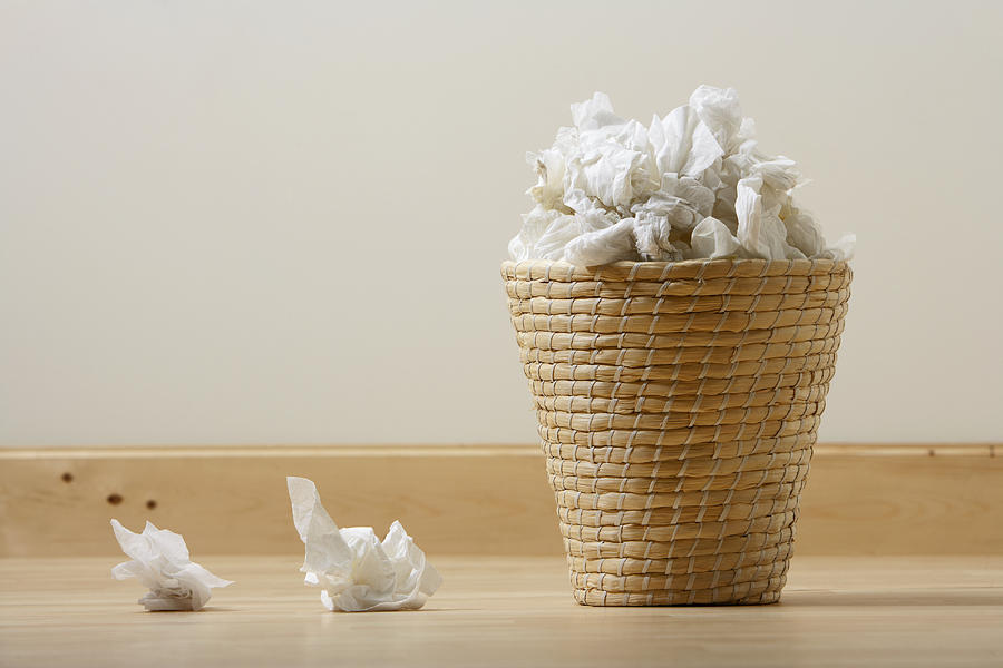 Waste Paper Basket Full Of Used Tissues Photograph by Joe Fox