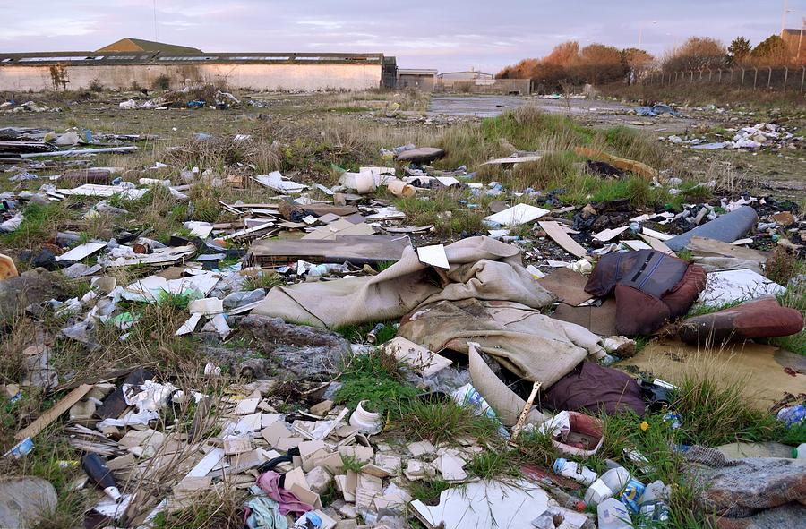 Wasteland Photograph - Wasteland Strewn With Rubbish by Robert Brook/science Photo Library